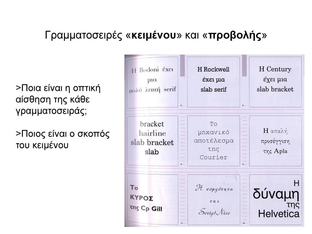 Γραμματοσειρές «κειμένου» και «προβολής»