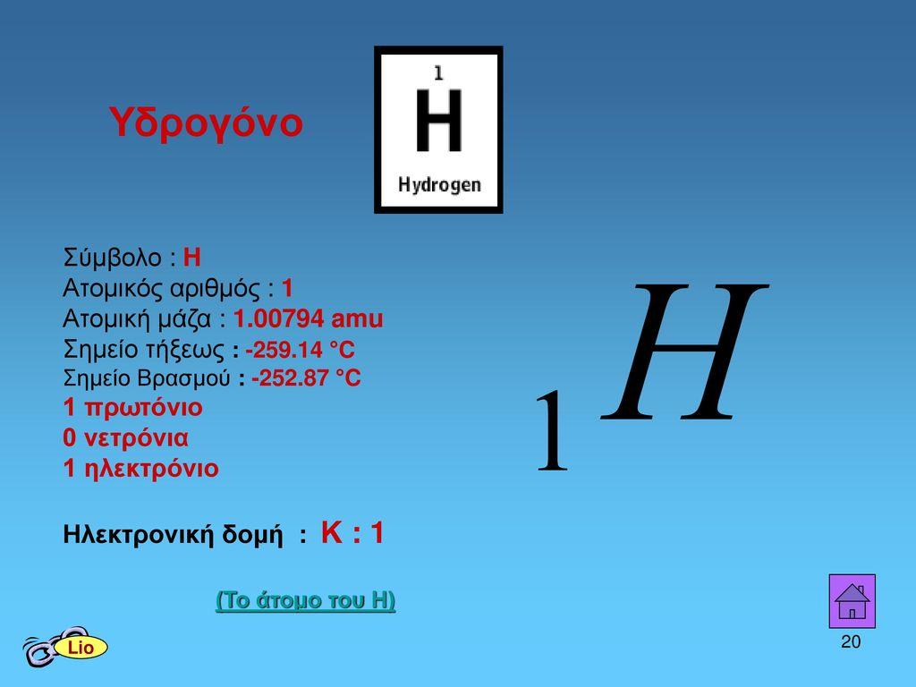 Υδρογόνο Σύμβολο : H Ατομικός αριθμός : 1 Ατομική μάζα : 1.00794 amu Σημείο τήξεως : -259.14 °C Σημείο Βρασμού : -252.87 °C.
