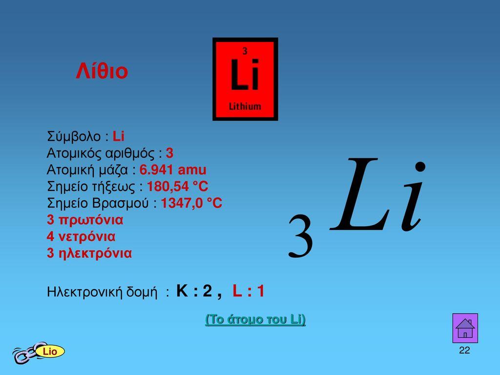 Λίθιο Σημείο Βρασμού : 1347,0 °C 3 πρωτόνια 4 νετρόνια 3 ηλεκτρόνια