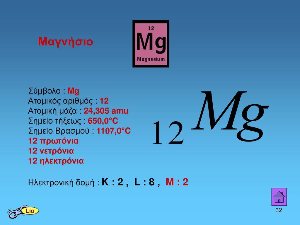 Μαγνήσιο Σύμβολο : Mg Ατομικός αριθμός : 12