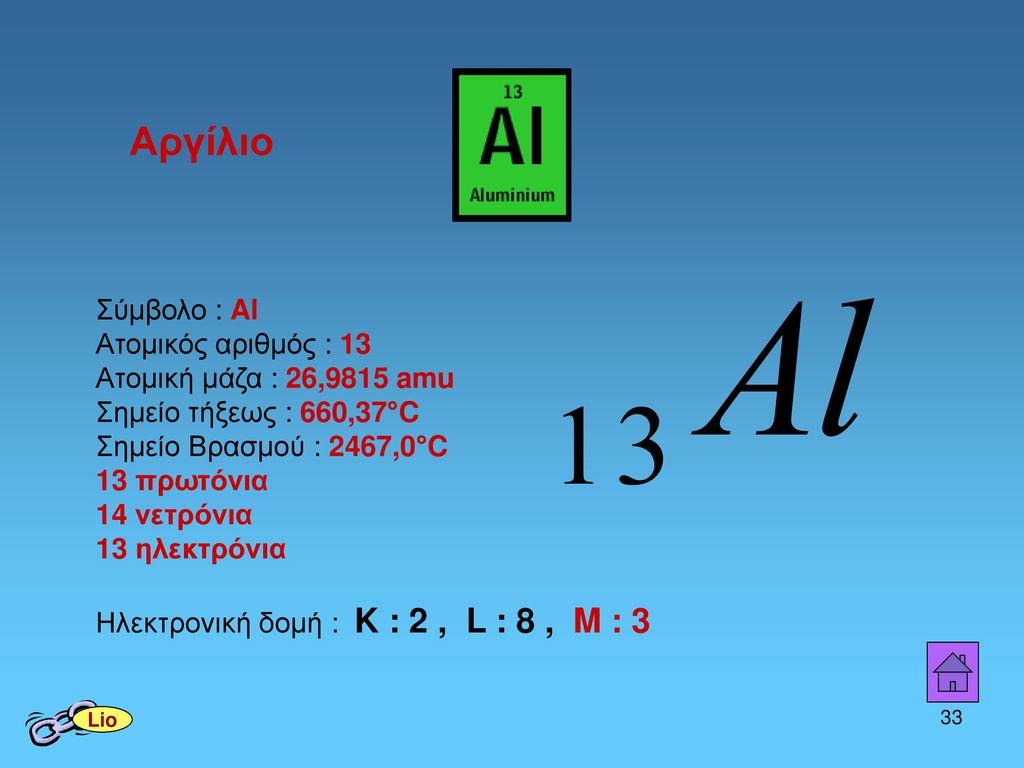 Αργίλιο Σύμβολο : Al Ατομικός αριθμός : 13