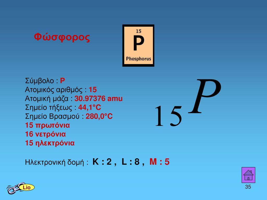 Φώσφορος Σύμβολο : P Ατομικός αριθμός : 15
