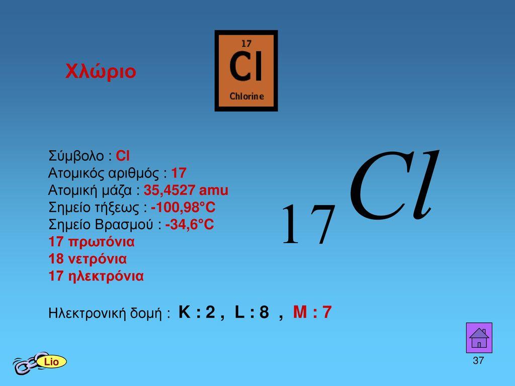 Χλώριο Σύμβολο : Cl Ατομικός αριθμός : 17