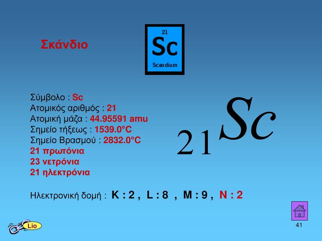 Σκάνδιο Σύμβολο : Sc Ατομικός αριθμός : 21