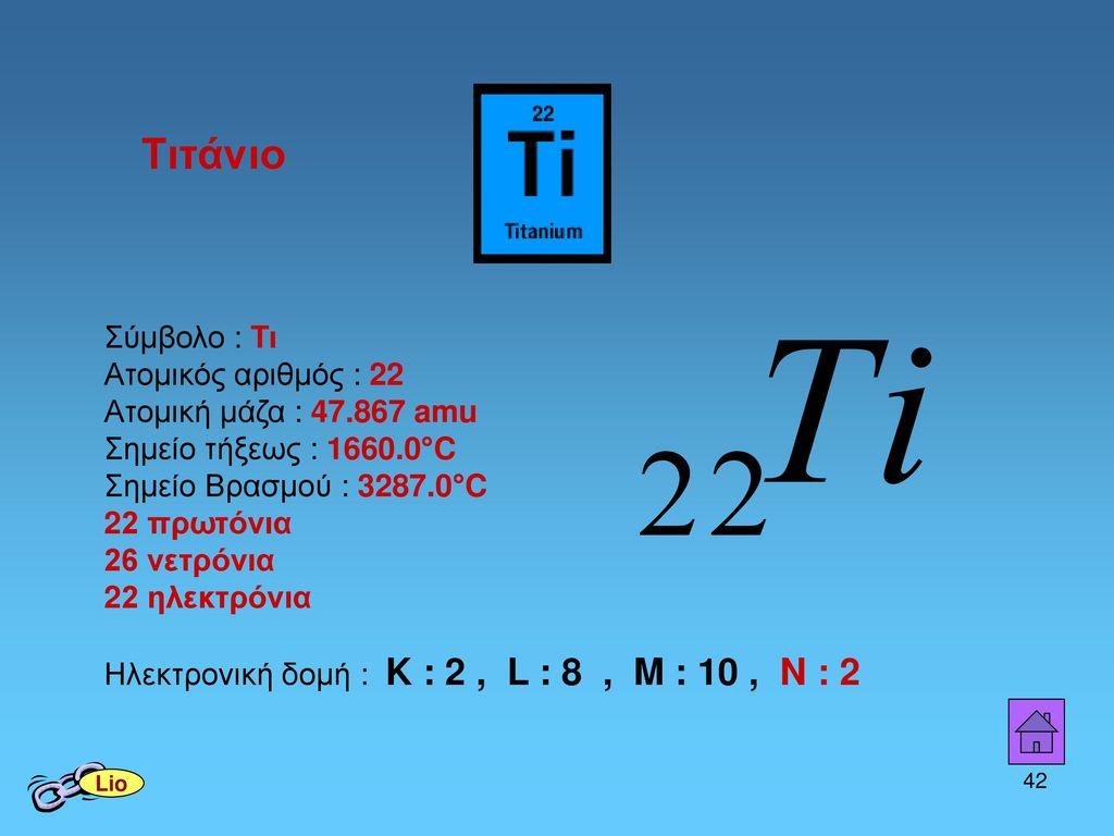 Τιτάνιο Σύμβολο : Τι Ατομικός αριθμός : 22