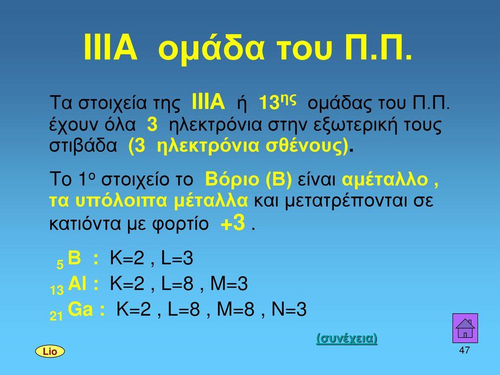 IIIA ομάδα του Π.Π. Τα στοιχεία της ΙIIΑ ή 13ης ομάδας του Π.Π. έχουν όλα 3 ηλεκτρόνια στην εξωτερική τους στιβάδα (3 ηλεκτρόνια σθένους).