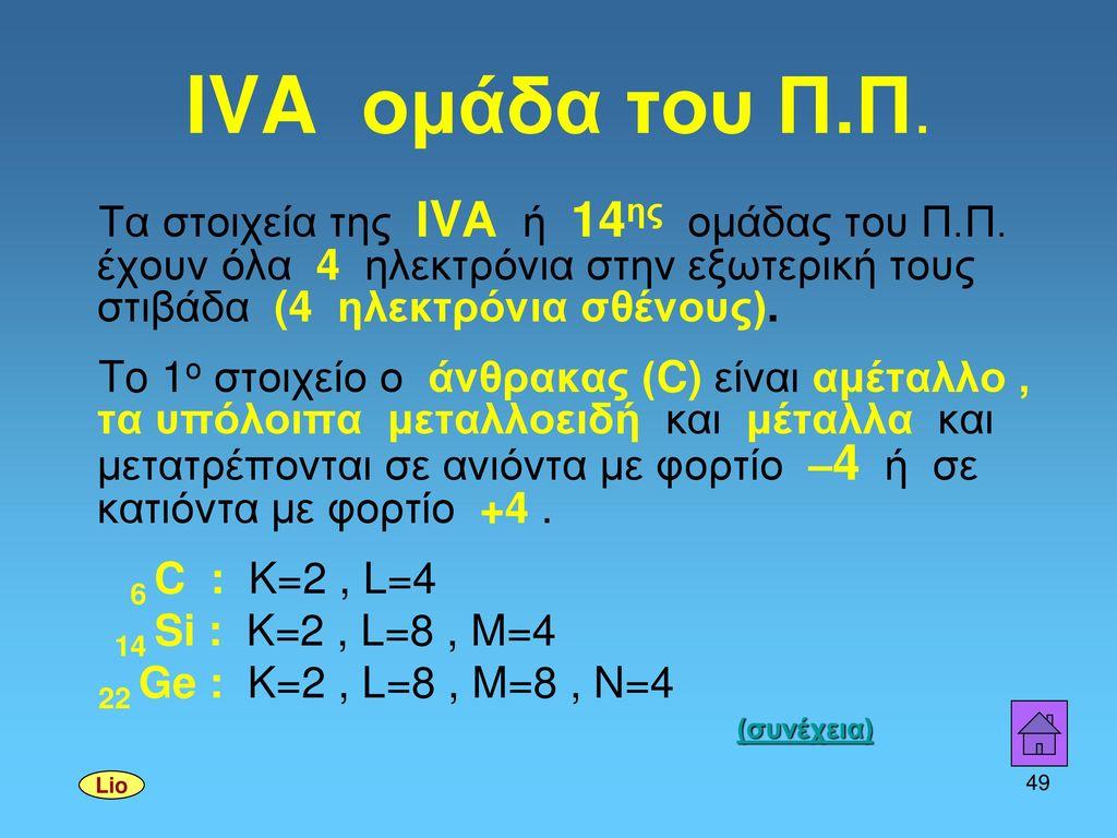IVA ομάδα του Π.Π. Τα στοιχεία της ΙVΑ ή 14ης ομάδας του Π.Π. έχουν όλα 4 ηλεκτρόνια στην εξωτερική τους στιβάδα (4 ηλεκτρόνια σθένους).