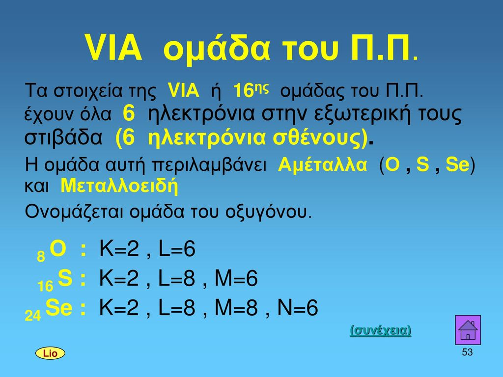 VΙA ομάδα του Π.Π. 8 Ο : K=2 , L=6 16 S : K=2 , L=8 , M=6
