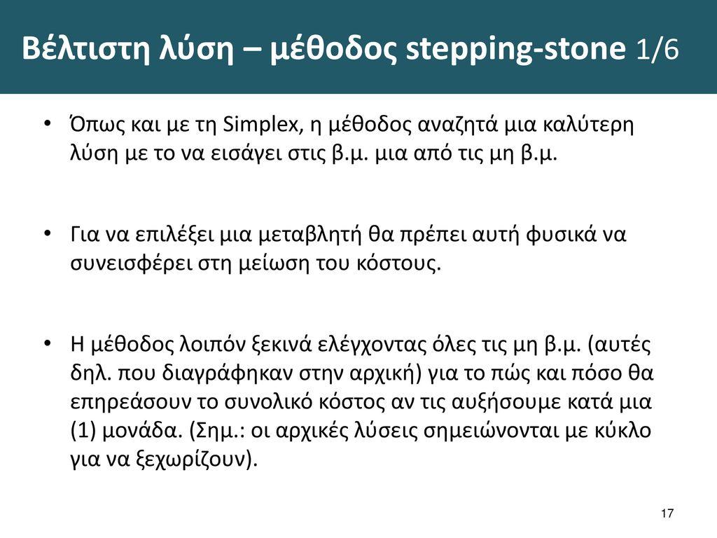 Βέλτιστη λύση – μέθοδος stepping-stone 2/6