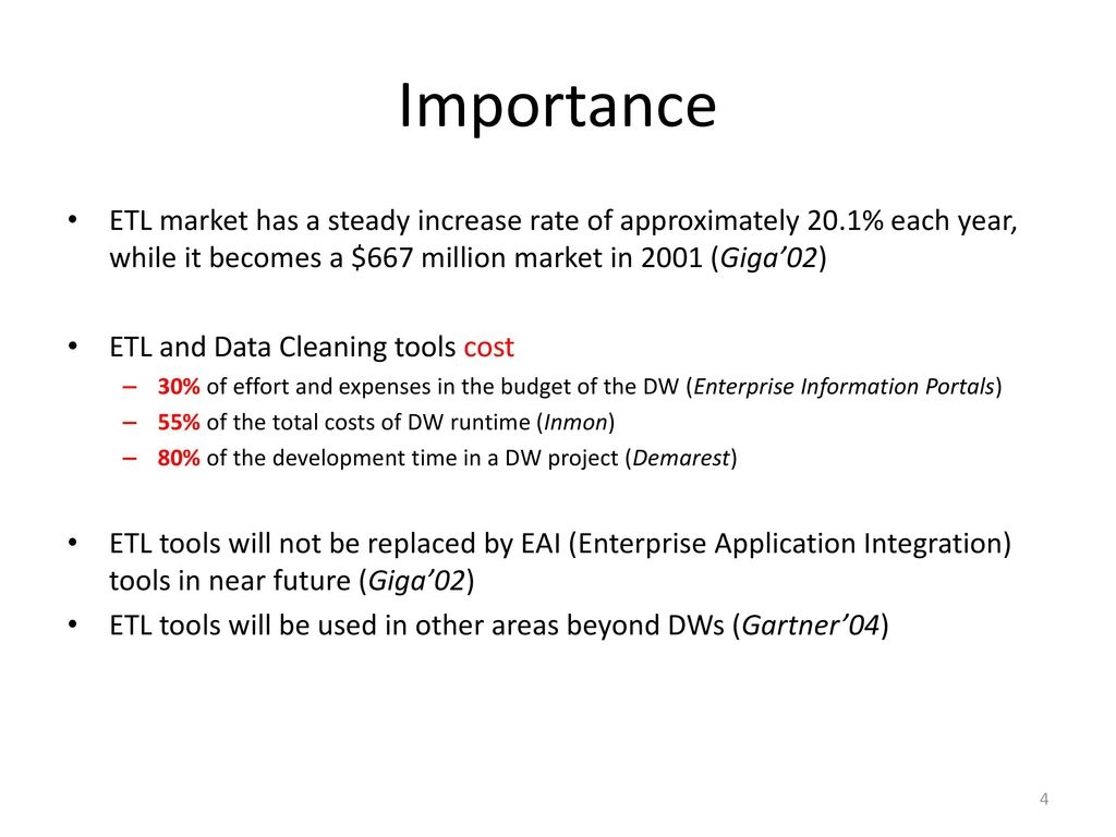 Importance ETL market has a steady increase rate of approximately 20.1% each year, while it becomes a $667 million market in 2001 (Giga'02)