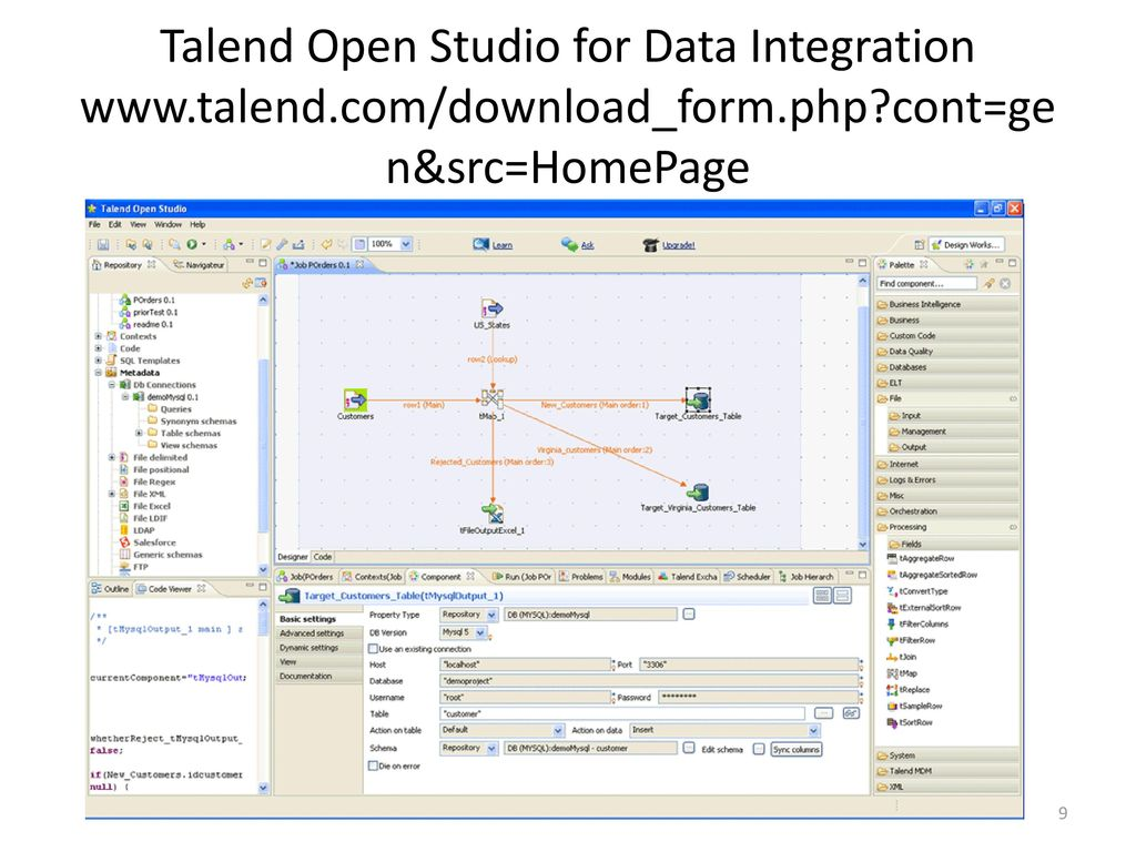 Talend Open Studio for Data Integration www. talend. com/download_form