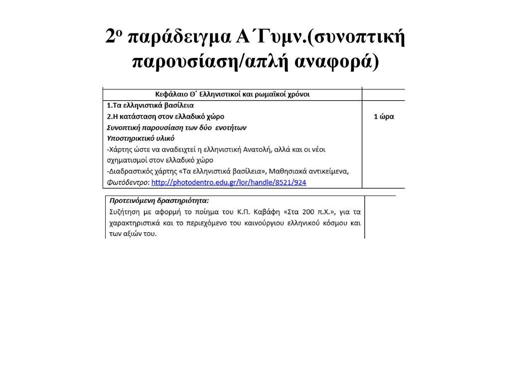 2ο παράδειγμα Α΄Γυμν.(συνοπτική παρουσίαση/απλή αναφορά)