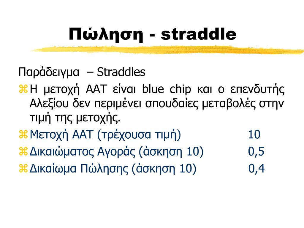 Πώληση - straddle Παράδειγμα – Straddles