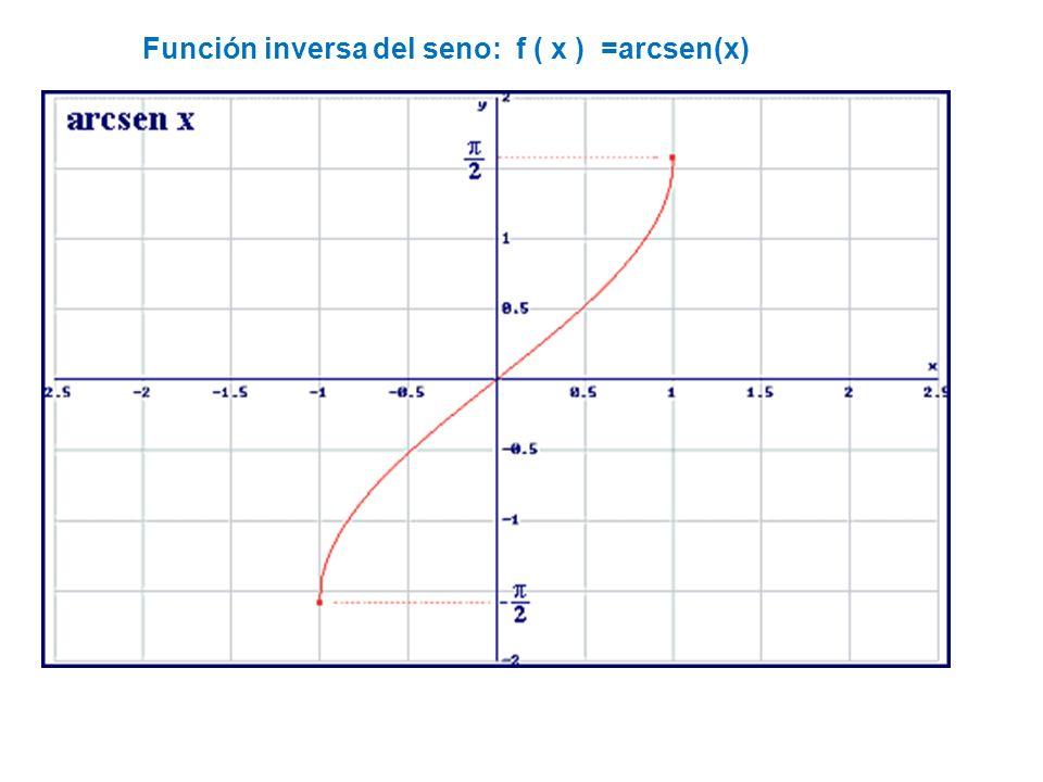 Función inversa del seno: f ( x ) =arcsen(x)
