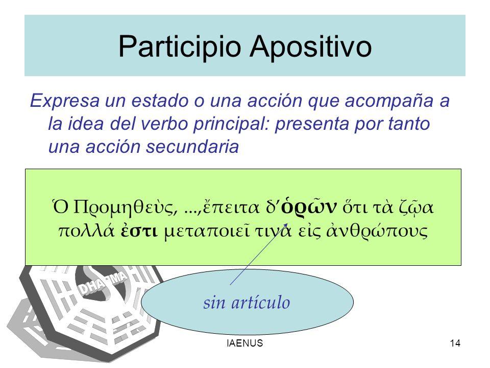 Participio Apositivo Expresa un estado o una acción que acompaña a la idea del verbo principal: presenta por tanto una acción secundaria.