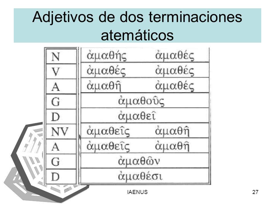 Adjetivos de dos terminaciones atemáticos