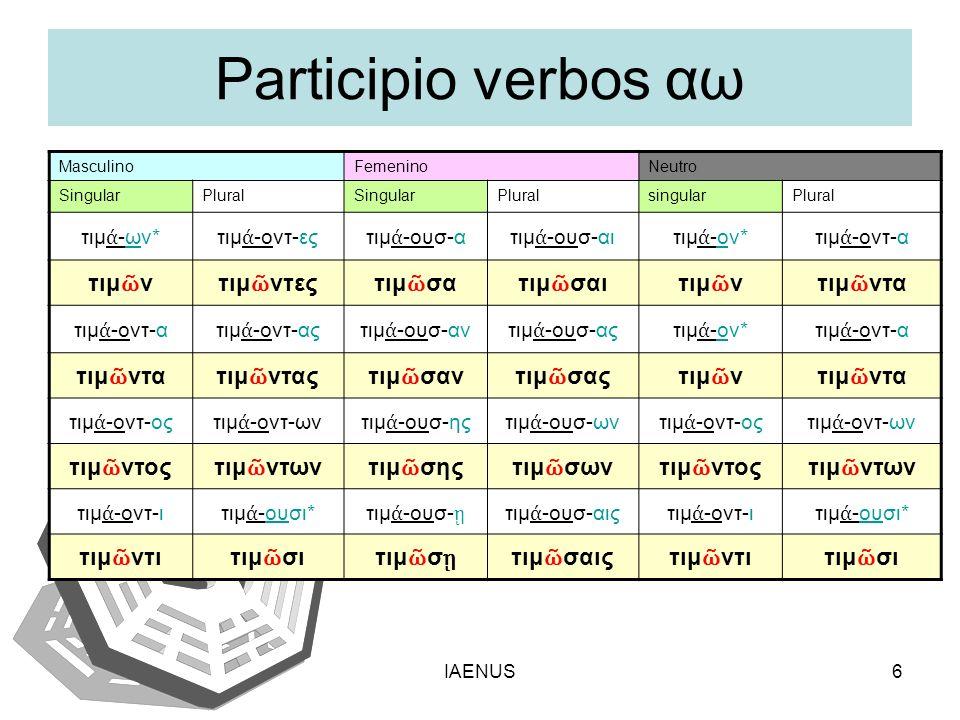 Participio verbos αω τιμῶν τιμῶντες τιμῶσα τιμῶσαι τιμῶντα τιμῶντας