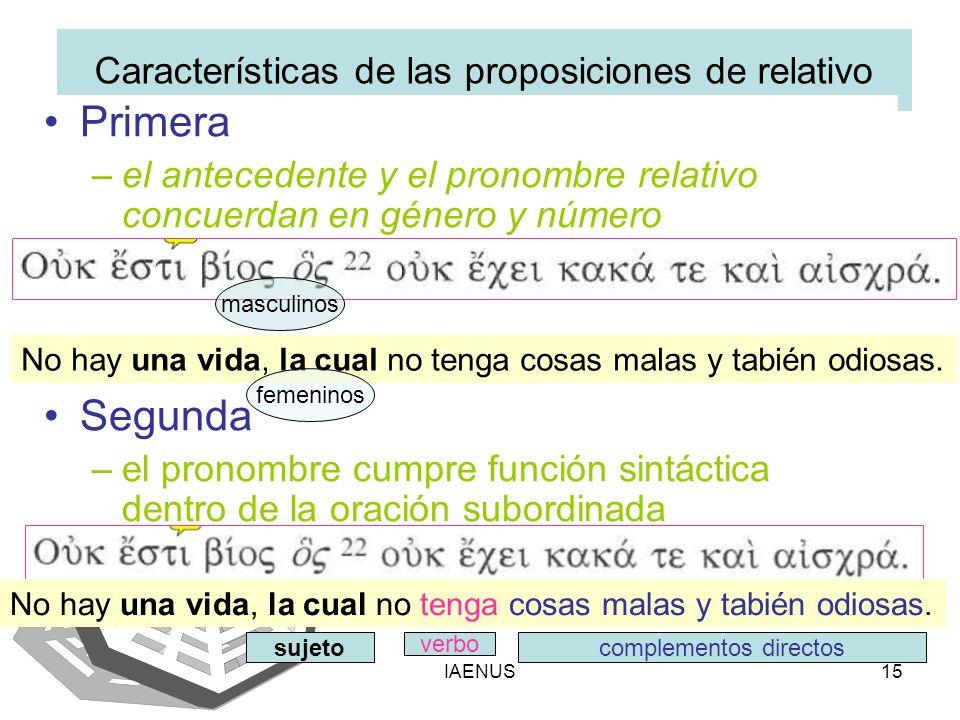 Características de las proposiciones de relativo