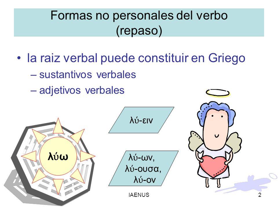 Formas no personales del verbo (repaso)