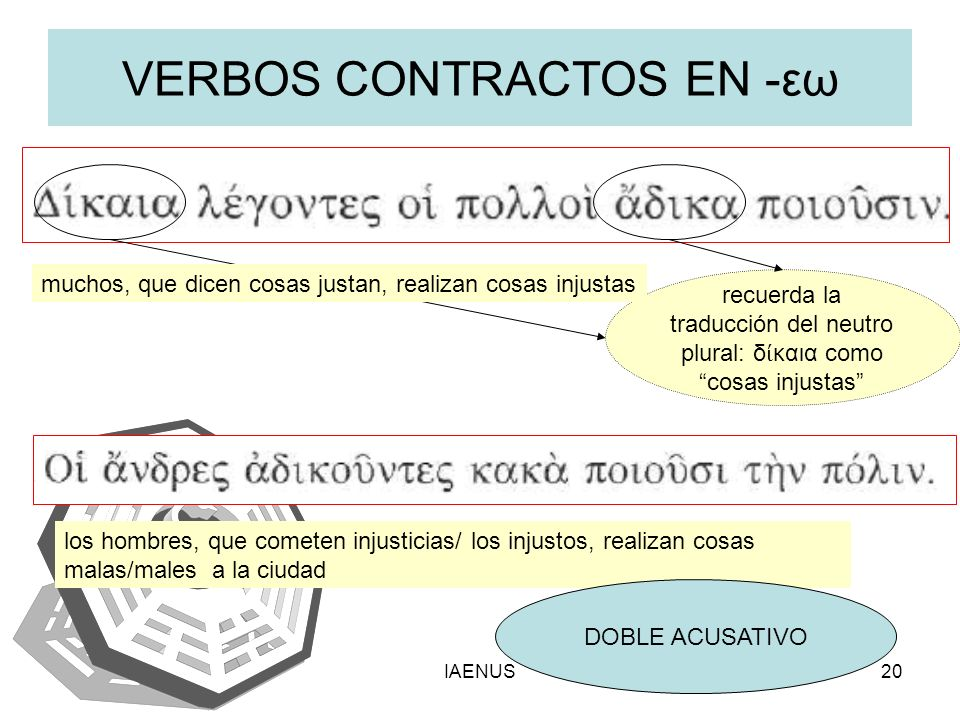 VERBOS CONTRACTOS EN -εω