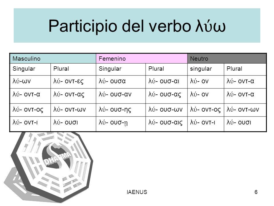 Participio del verbo λύω
