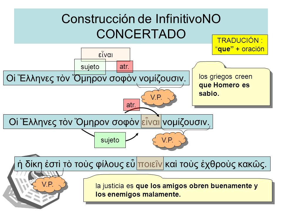 Construcción de InfinitivoNO CONCERTADO
