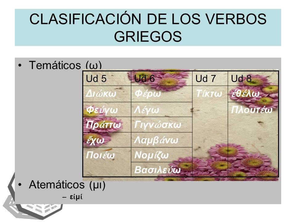 CLASIFICACIÓN DE LOS VERBOS GRIEGOS