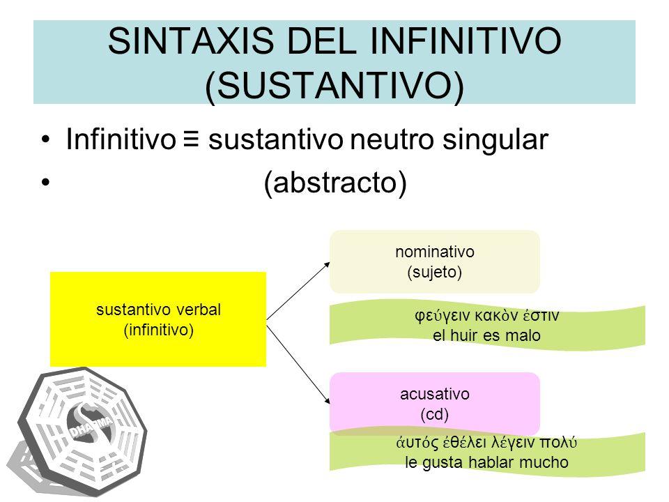 SINTAXIS DEL INFINITIVO (SUSTANTIVO)