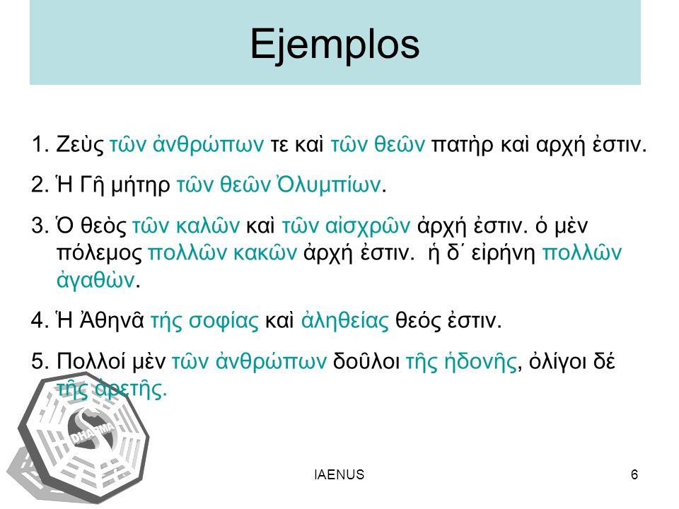 Ejemplos Ζεὺς τῶν ἀνθρώπων τε καὶ τῶν θεῶν πατὴρ καὶ αρχή ἐστιν.