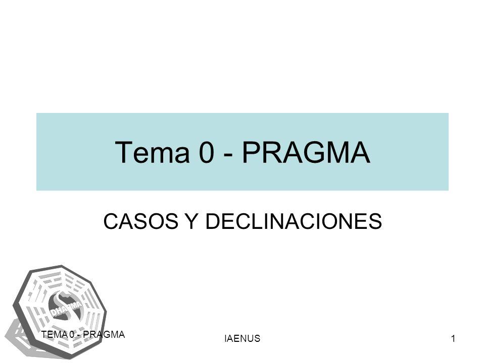 Tema 0 - PRAGMA CASOS Y DECLINACIONES TEMA 0 - PRAGMA IAENUS
