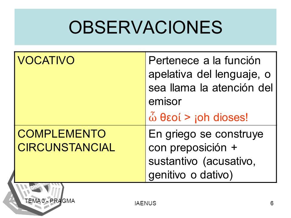 OBSERVACIONES VOCATIVO