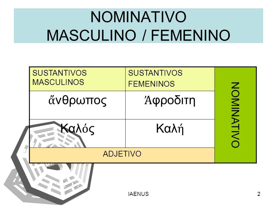 NOMINATIVO MASCULINO / FEMENINO