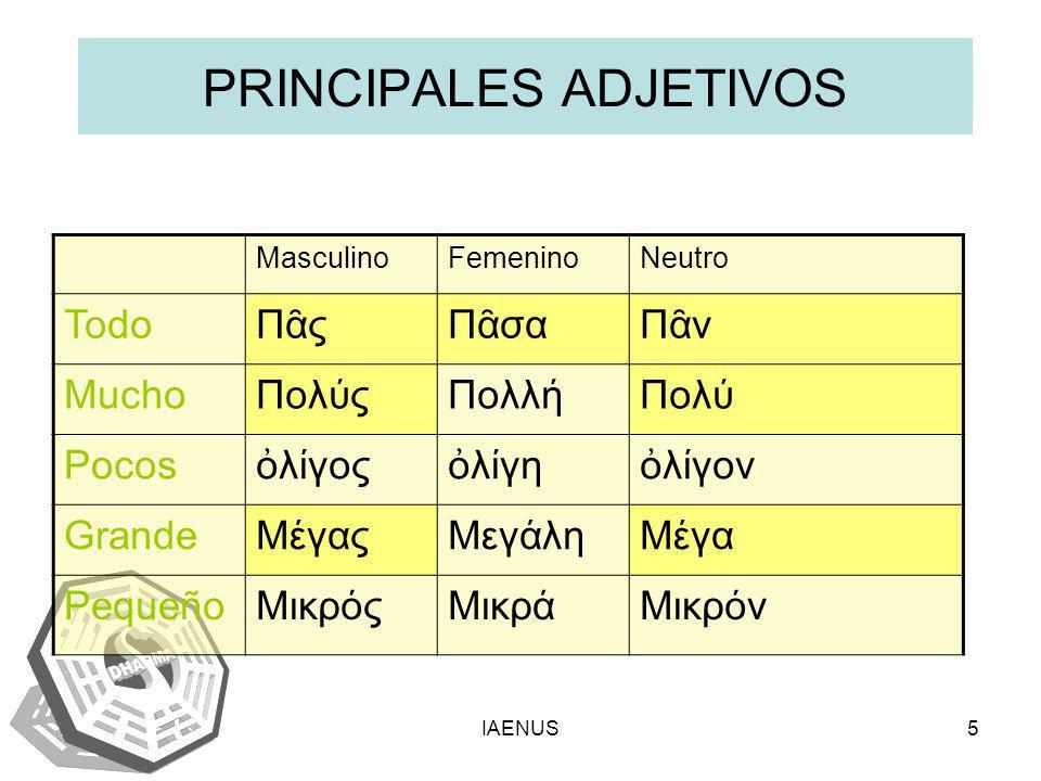 PRINCIPALES ADJETIVOS