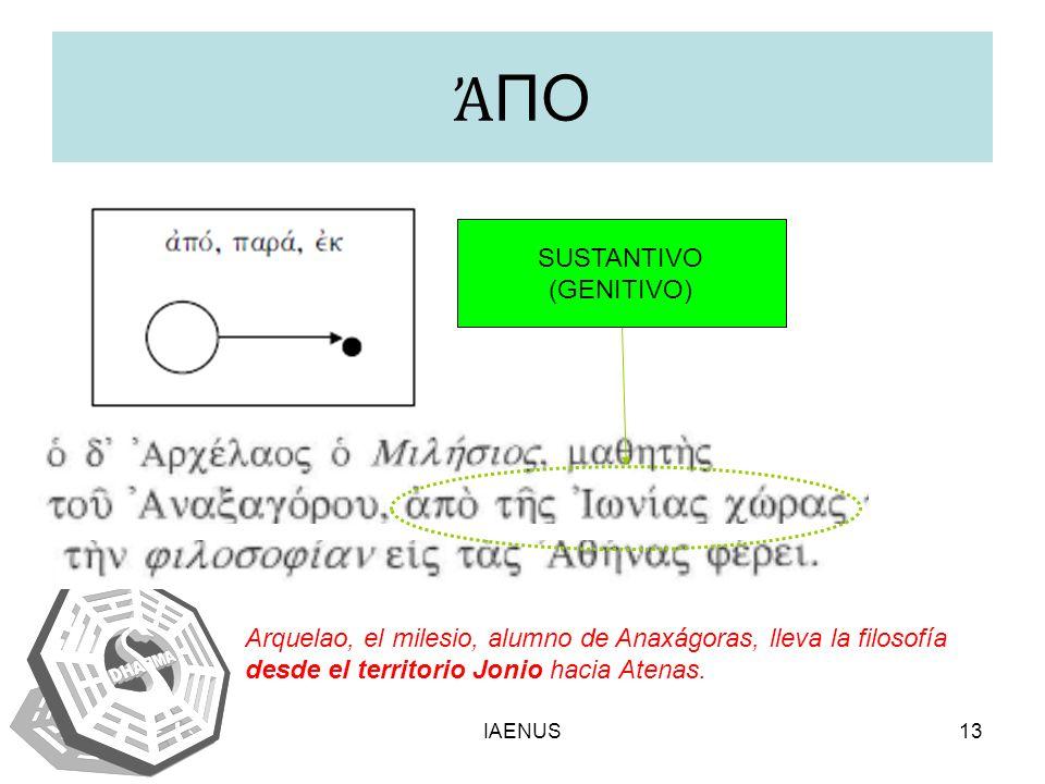 ἈΠΟ SUSTANTIVO (GENITIVO)