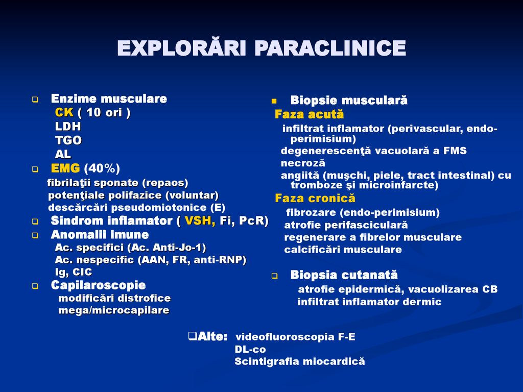 EXPLORĂRI PARACLINICE