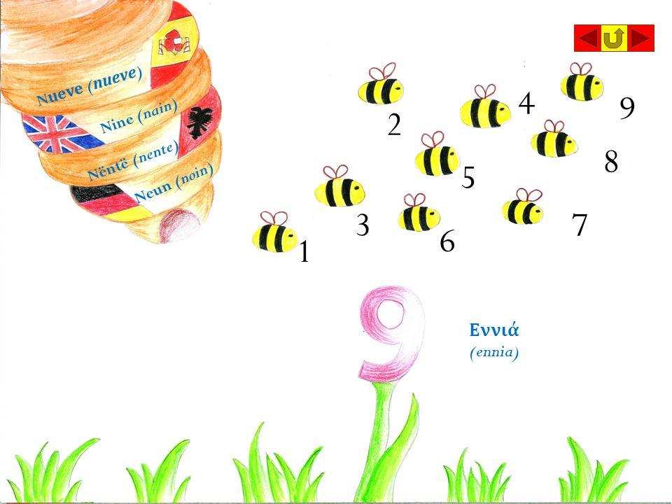 4 9 2 8 5 3 7 6 1 Εννιά (ennia) Nueve (nueve) Nine (nain)