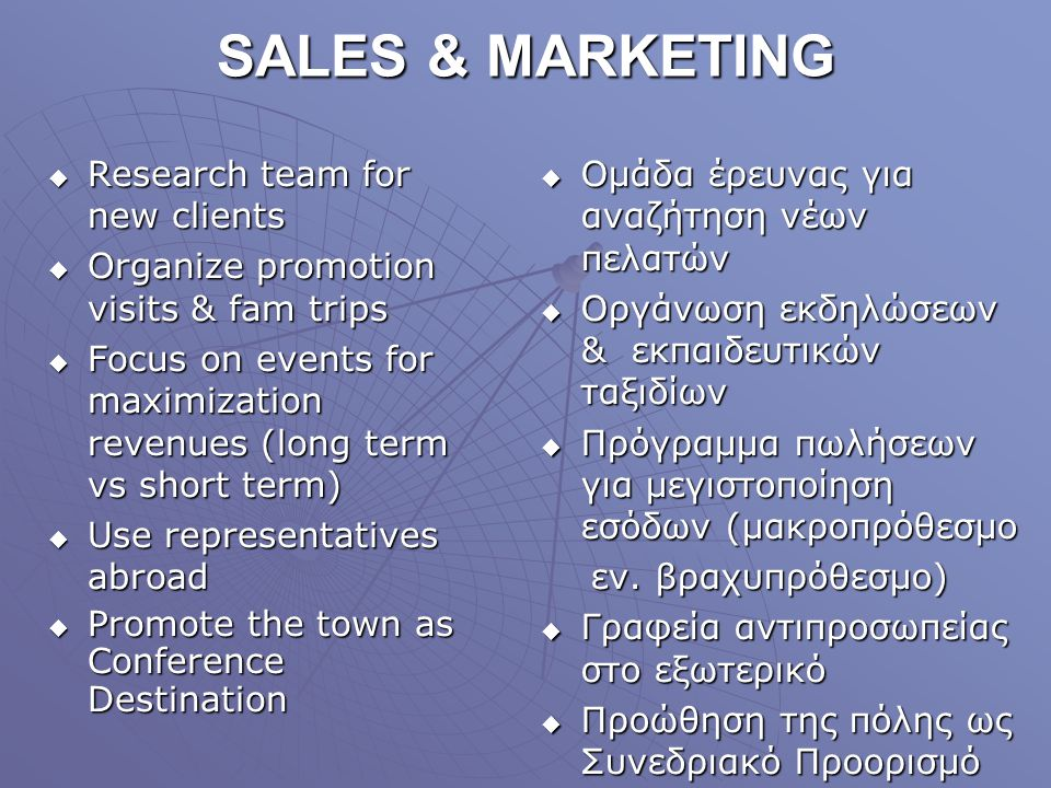 SALES & MARKETING Research team for new clients