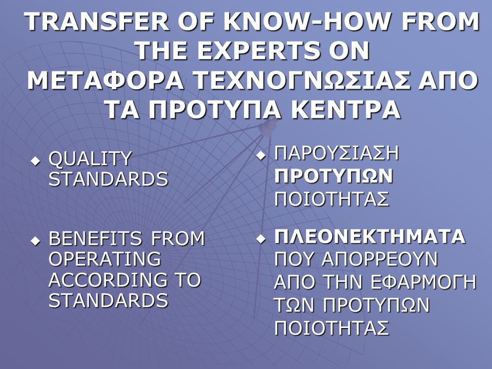 TRANSFER OF KNOW-HOW FROM THE EXPERTS ON MΕΤΑΦΟΡΑ ΤΕΧΝΟΓΝΩΣΙΑΣ ΑΠΟ ΤΑ ΠΡΟΤΥΠΑ ΚΕΝΤΡΑ