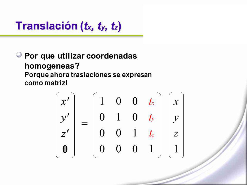 Translación (tx, ty, tz) x y z 1 x y z 1 1 1 tx ty tz 1 x y z 1