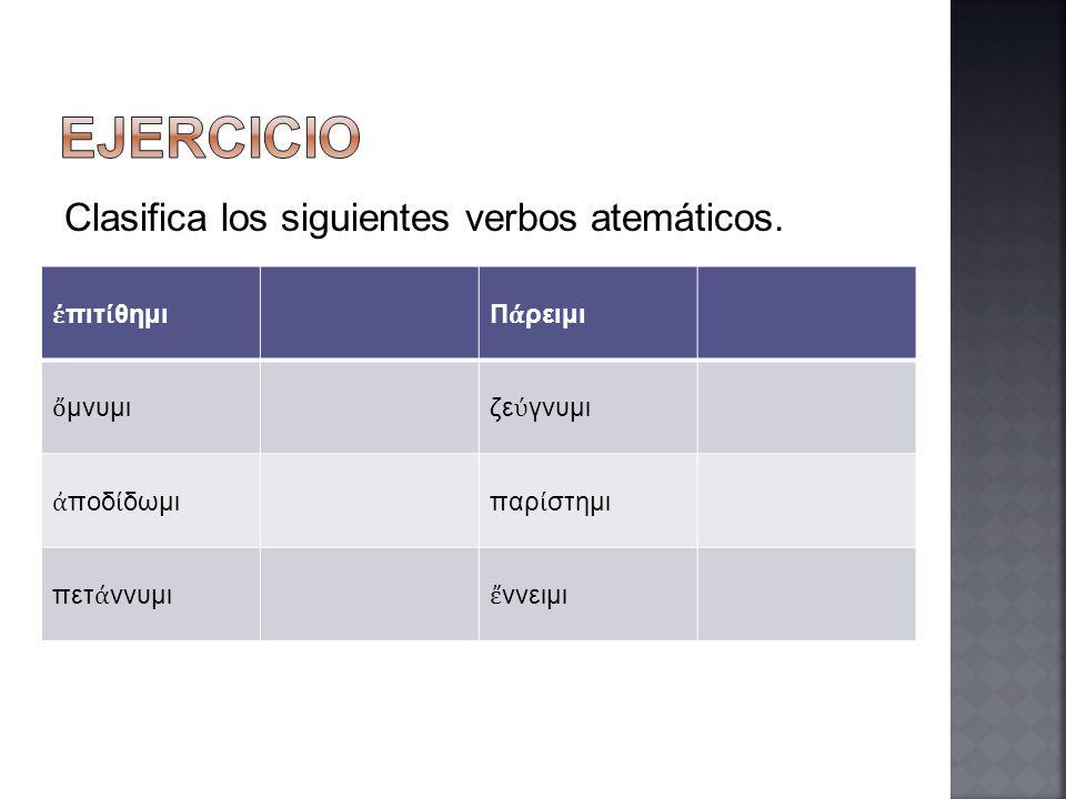 EJERCICIO Clasifica los siguientes verbos atemáticos. ἐπιτίθημι