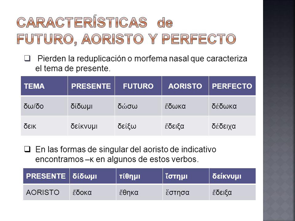 CARACTERÍSTICAS de futuro, aoristo y perfecto