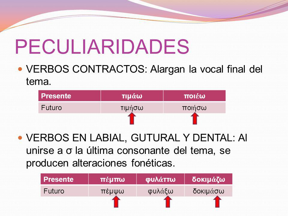 PECULIARIDADES VERBOS CONTRACTOS: Alargan la vocal final del tema.