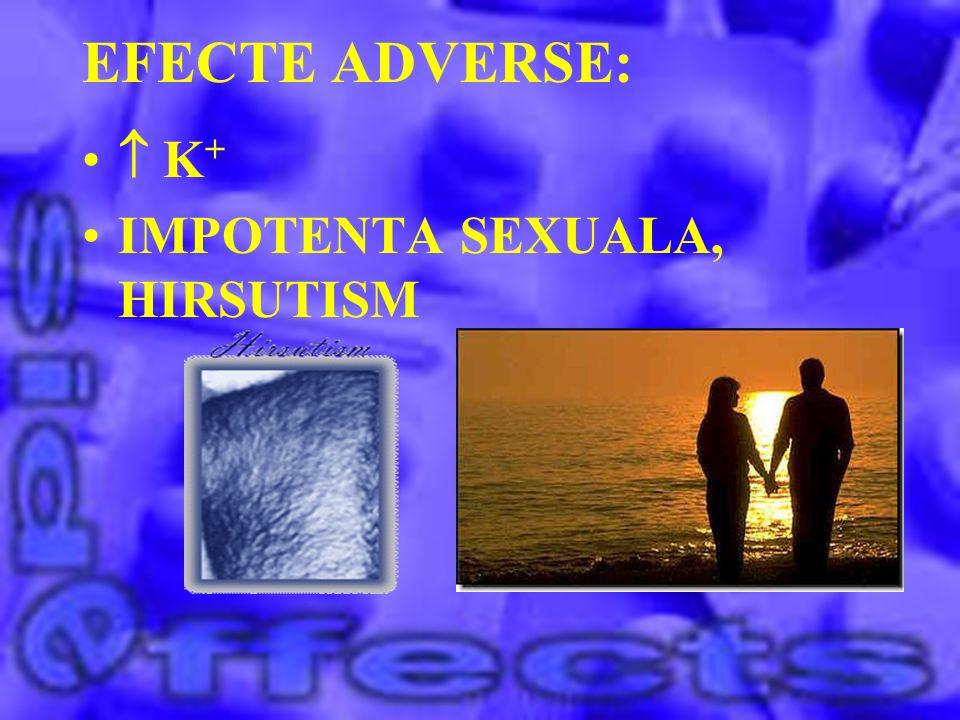 EFECTE ADVERSE:  K+ IMPOTENTA SEXUALA, HIRSUTISM