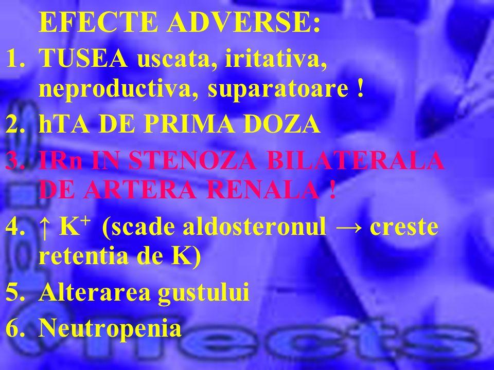 EFECTE ADVERSE: TUSEA uscata, iritativa, neproductiva, suparatoare !