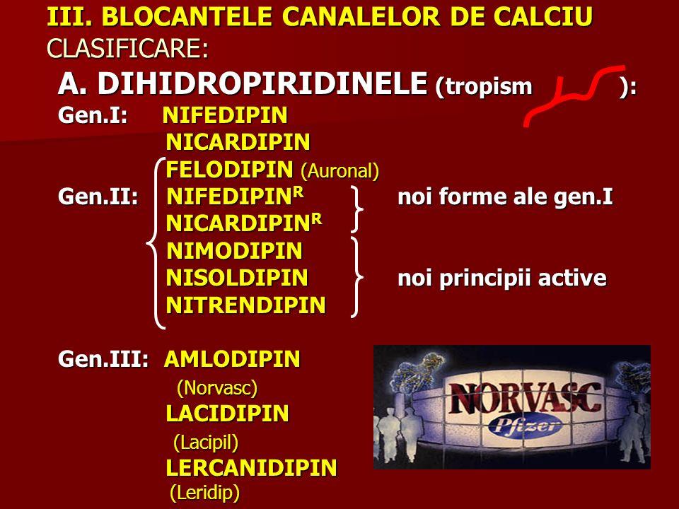 III. BLOCANTELE CANALELOR DE CALCIU CLASIFICARE: