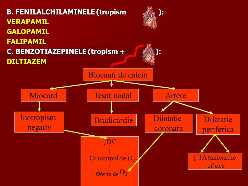 Blocanti de calciu Miocard Tesut nodal Artere Inotropism negativ