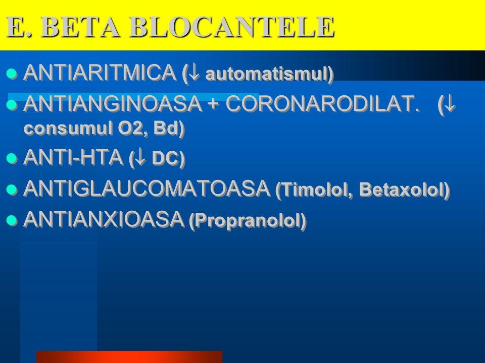 E. BETA BLOCANTELE ANTIARITMICA ( automatismul)