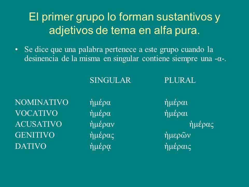El primer grupo lo forman sustantivos y adjetivos de tema en alfa pura.