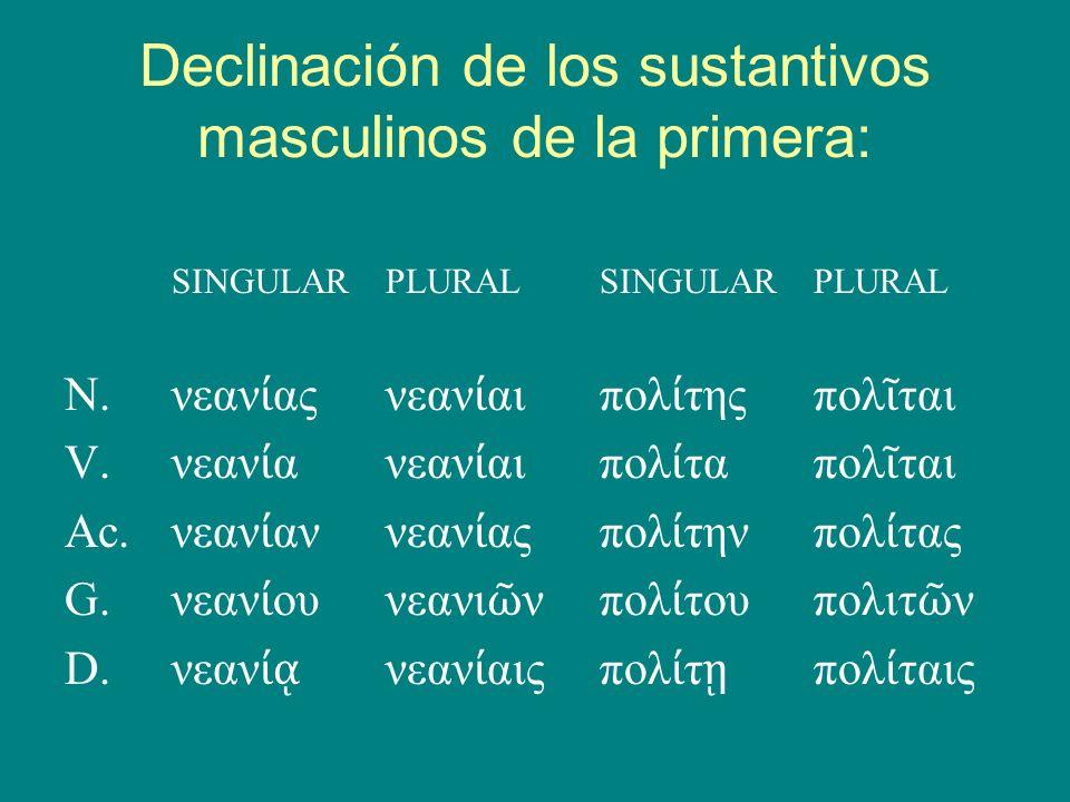 Declinación de los sustantivos masculinos de la primera: