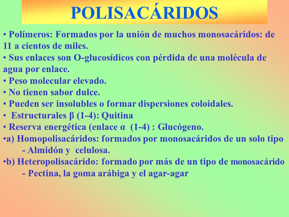 POLISACÁRIDOS Polímeros: Formados por la unión de muchos monosacáridos: de 11 a cientos de miles.